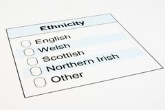 UK Ethnicity Form Royalty Free Stock Photos