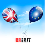 UK and EU on balloons. Brexit concept. Royalty Free Stock Image