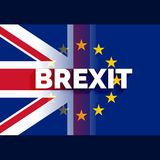 Uk and eu flag with brexit text Royalty Free Stock Photos