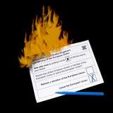 UK EU referendum - Brexit. Up in flames, burning. Stock Images