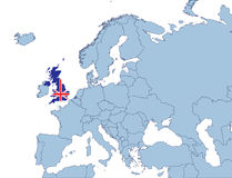 UK on Europe map Stock Photography