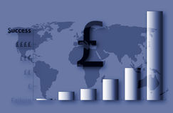 UK Financial succes. Bar graph showing financial success against a world map background Royalty Free Illustration