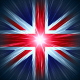 Uk flag. British Union Jack national flag with light rays Stock Photos