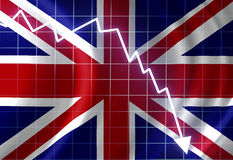 UK flag. Waving in the wind: crisis Stock Photography
