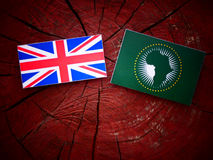 UK flag with African Union flag on a tree stump  Stock Photos
