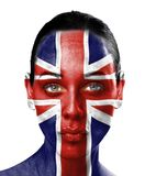 UK flag on beauty woman face  Royalty Free Stock Photos