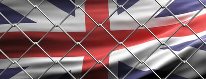 UK flag behind steel mesh wire fence. Coronavirus pandemic quarantine, 3d illustration
