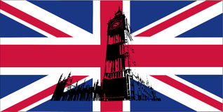 UK flag with Big Ben. Flag of the UK on the background and illustration of the Big Ben Stock Image