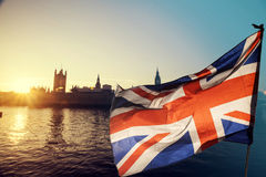 UK flag and Big Ben Royalty Free Stock Images