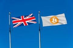 UK flag and Bitcoin Flag Stock Photos