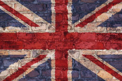 Uk flag on brick background Stock Photos