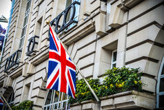 UK flag on building in London during summer time Royalty Free Stock Images