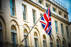UK flag on building in London during summer time Stock Image