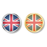 UK flag button with silver and gold vector Royalty Free Stock Photo