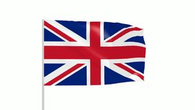 UK flag. 3d animation of Union Jack flag with metal pole stock footage
