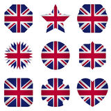 UK flag with different shapes on a white background Stock Images