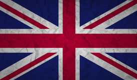 UK flag with the effect of crumpled paper and grunge Royalty Free Stock Photos