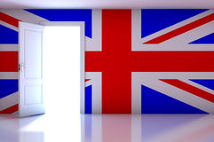 UK flag on empty room Royalty Free Stock Image