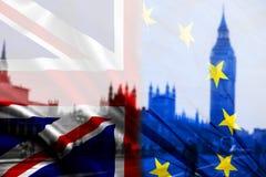 UK flag, EU flag and Big Ben Royalty Free Stock Photos