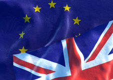 UK Flag and EU Flag. British Union Jack flag. 3D render Royalty Free Stock Image