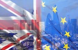 UK flag, EU flag and financial buildings Stock Photo