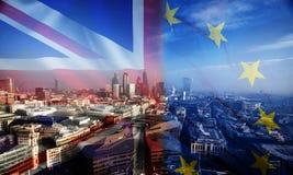 UK flag, EU flag and financial buildings Stock Image