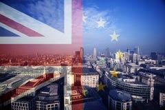 UK flag, EU flag and financial buildings Stock Photos