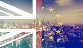 UK flag, EU flag and financial buildings Royalty Free Stock Image