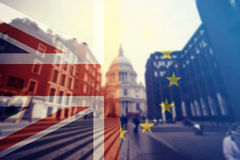 UK flag, EU flag and St. Paul Catherdral Royalty Free Stock Image
