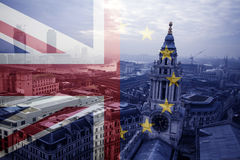 UK flag, EU flag and St. Paul Catherdral Royalty Free Stock Photo