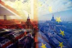 UK flag, EU flag and St. Paul Catherdral Stock Photo