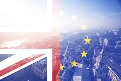 UK flag, EU flag and St. Paul Catherdral Royalty Free Stock Photos
