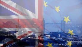 UK flag, EU flag and Tower Bridge Stock Photos