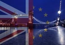 UK flag, EU flag and Tower Bridge Royalty Free Stock Photo