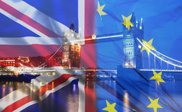 UK flag, EU flag and Tower Bridge Stock Image