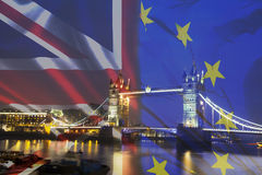UK flag, EU flag and Tower Bridge Royalty Free Stock Image