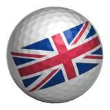 UK flag on golf ball Royalty Free Stock Photo