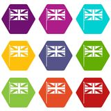 UK flag icon set color hexahedron. UK flag icon set many color hexahedron isolated on white vector illustration Stock Photography
