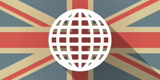 UK flag icon with a world globe Stock Image