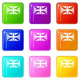 UK flag icons 9 set. UK flag icons of 9 color set isolated vector illustration Royalty Free Stock Photo