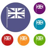 UK flag icons set. In flat circle reb, blue and green color for web Stock Photos