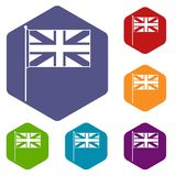 UK flag icons set. Rhombus in different colors isolated on white background Stock Photo