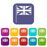 UK flag icons set. Vector illustration in flat style in colors red, blue, green, and other Stock Image