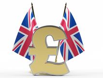 UK flag and know the pound. On a white background. 3D rendering Royalty Free Stock Images