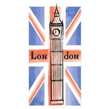 UK flag with London city famous landmark. Travel Great Britain b Royalty Free Stock Photo