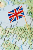 UK flag on map Royalty Free Stock Photo