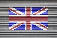 UK Flag On Metal Shutter Royalty Free Stock Images