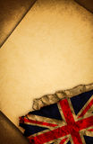 UK flag and old paper. UK flag and old document papers Royalty Free Stock Photo