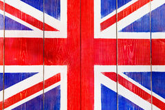 UK flag painted on wooden boards Stock Photo