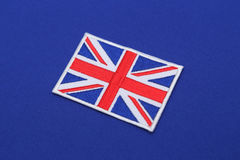 Uk flag patch on abric Stock Images